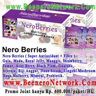 Nero Berries ( Super Antioxidant + Fibre ) Gula, Madu, Royal Jelly, Manggis, Strawberry, Tomat, Acay Berry, Black Plum, Guarana, Acerola, Biji Anggur, Daun Sirsak, Lingzhi Mushroom, Daun Mulberry, Mineral, Probiotik.